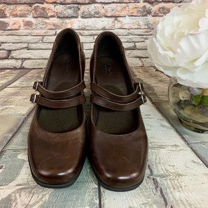 Brown Leather Clark's Bendablee Heeled Mules